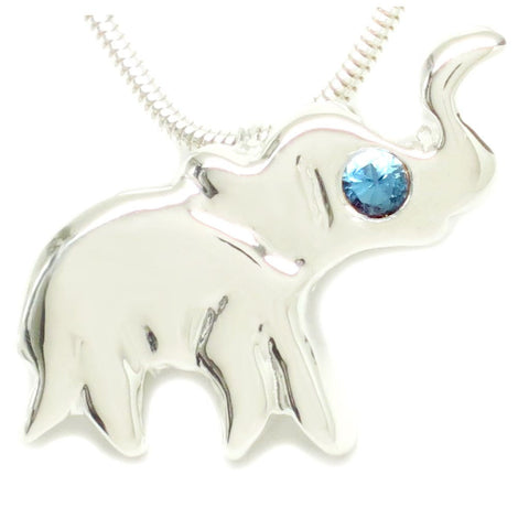Sterling Silver London Blue Topaz Lucky Elephant Dainty Necklace [Natural] 16""