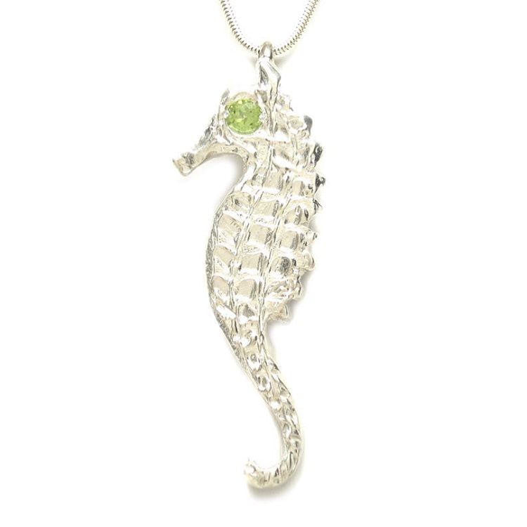 Sterling Silver Peridot Large Seahorse Pendant Necklace - Michele Benjamin - Jewelry Design