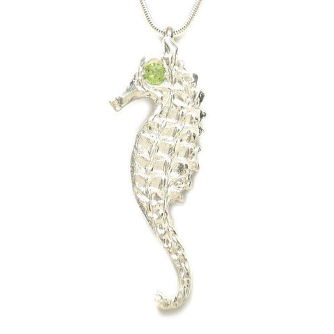 Sterling Silver Peridot Large Seahorse Pendant Necklace