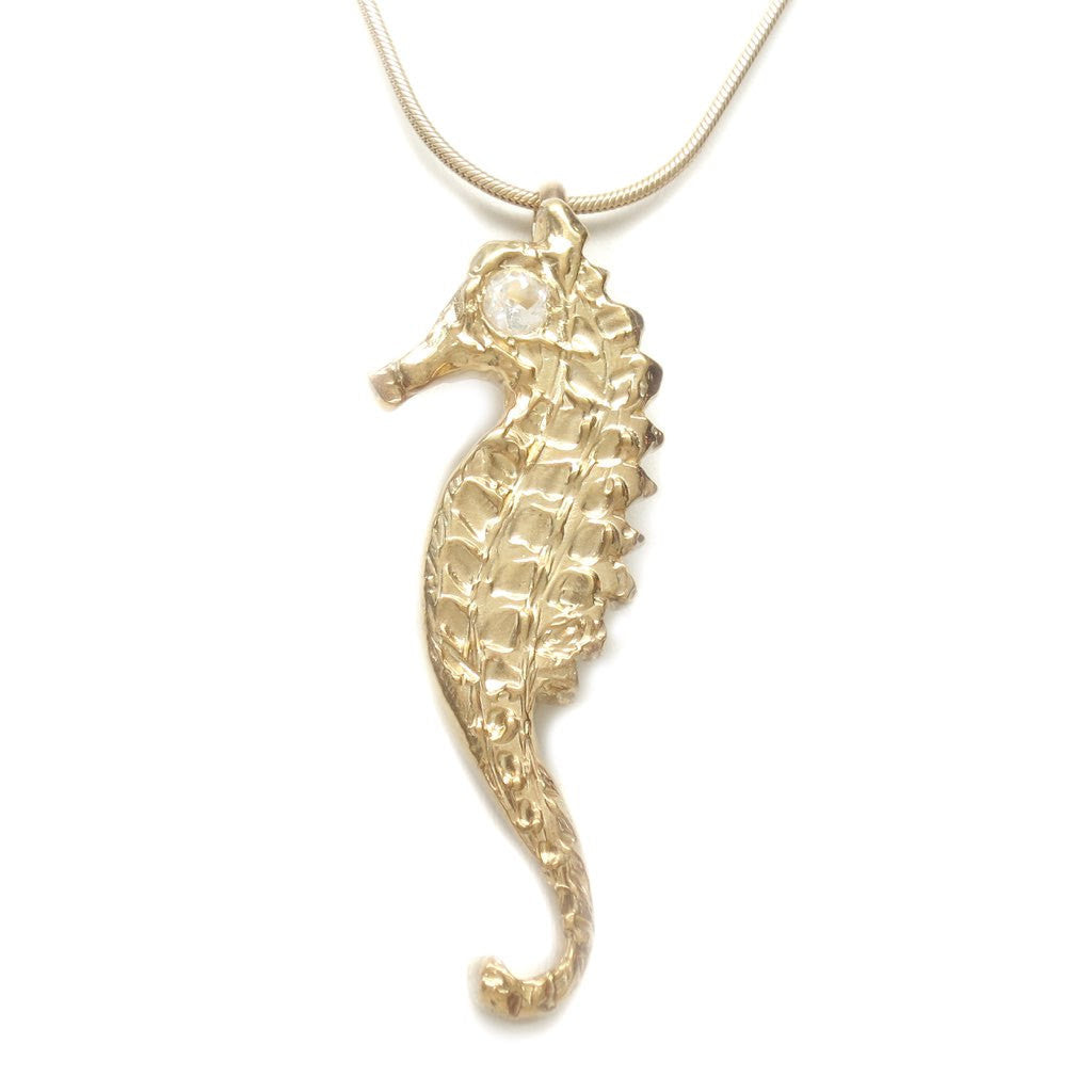 Michele Benjamin 18K Gold Plated Topaz Seahorse Pendant Necklace - Michele Benjamin - Jewelry Design