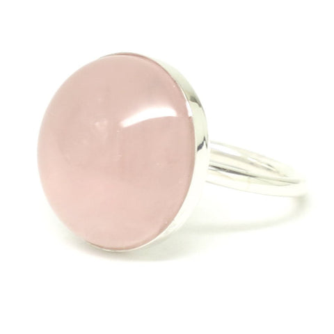 Sterling Silver Rose Quartz Round Cabochon Ring - Select Size 6.5 or 7