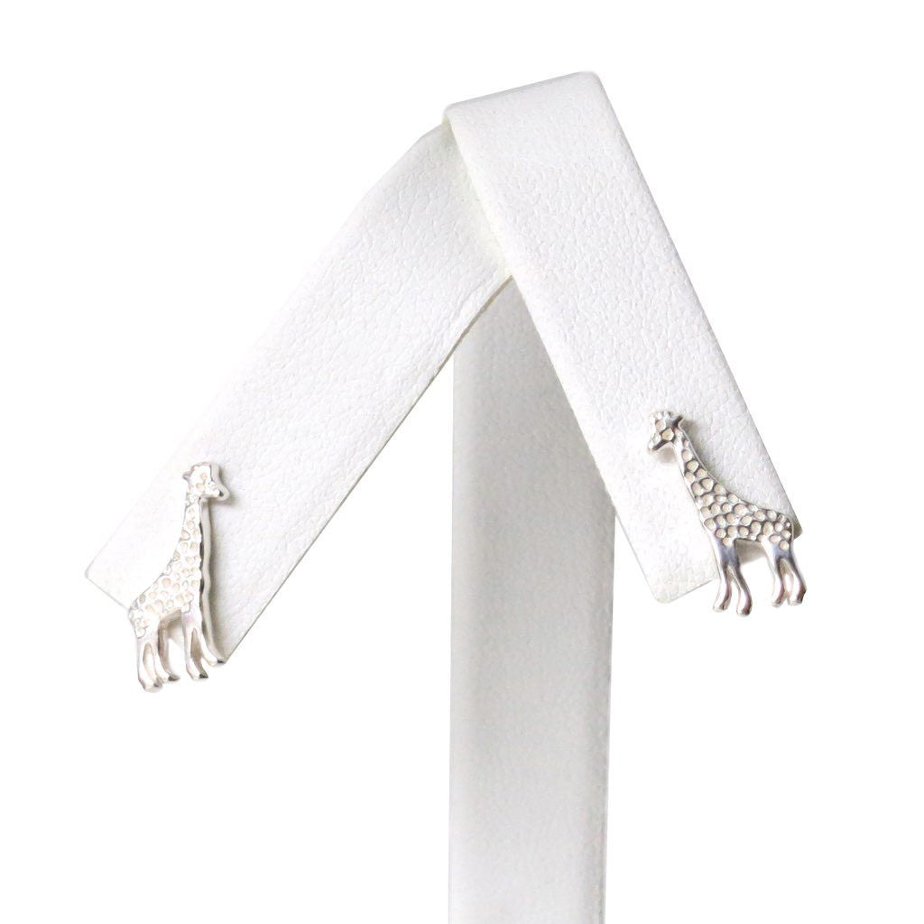 Sterling Silver Giraffe Dainty Earrings Artistically Unique Sculptural Handcrafted - Michele Benjamin - Jewelry Design