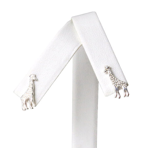 Sterling Silver Giraffe Dainty Earrings Artistically Unique Sculptural Handcrafted