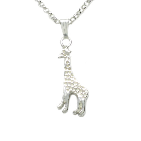 Sterling Silver Tiny Giraffe Necklace 1/2 in. Pendant on 18 in. chain