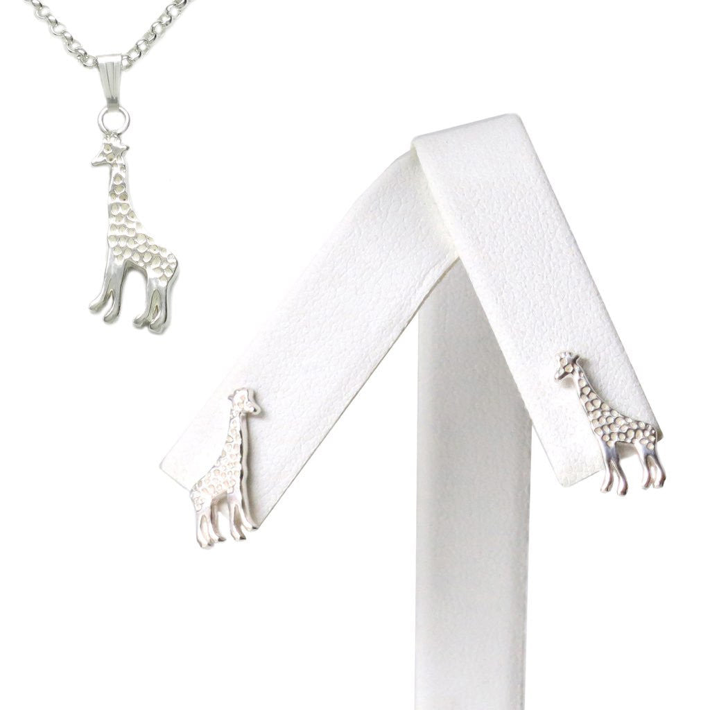 Sterling Silver Giraffe Dainty Earrings Necklace Matching Set 18L - Michele Benjamin - Jewelry Design
