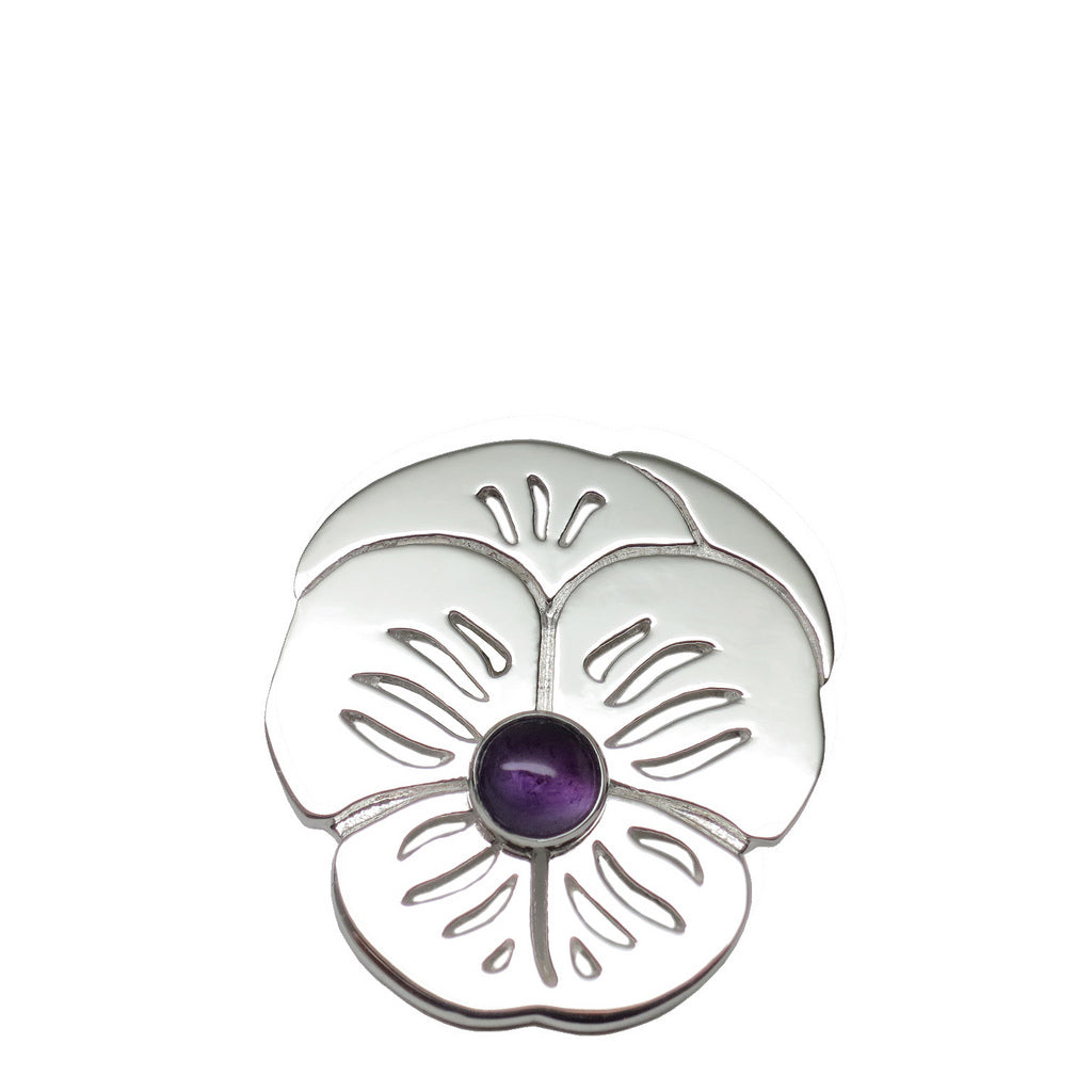 "Sterling Silver Amethyst ""Purple Pansy"" Suffragette Pin AAA Natural - Michele Benjamin - Jewelry Design"