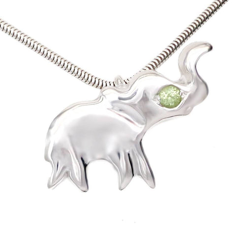 Sterling Silver Peridot Lucky Elephant Dainty Necklace [Natural] 16""