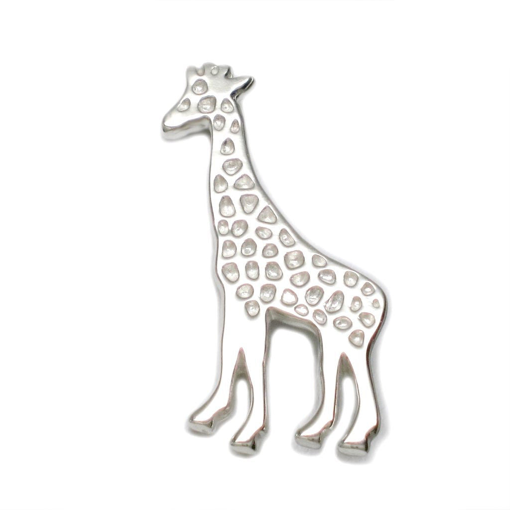 Sterling Silver Giraffe Scarf Tie Lapel Pin Brooch (Men's and Women's) - Michele Benjamin - Jewelry Design