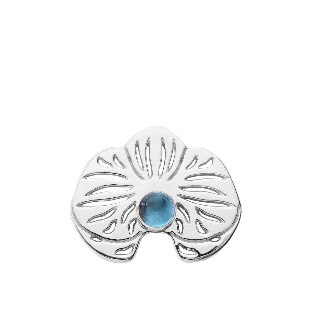 Sterling Silver Blue Topaz Orchid Lapel Pin Brooch - Michele Benjamin - Jewelry Design