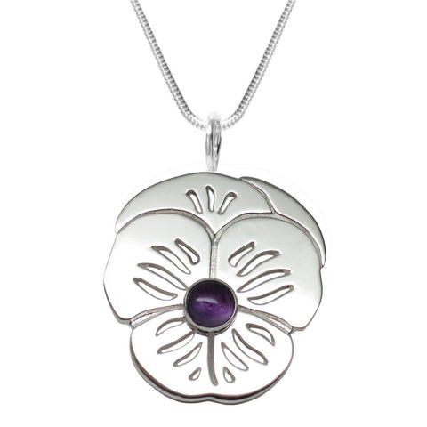 "Sterling Silver Amethyst ""Purple Pansy"" Pendant Necklace AAA Natural"