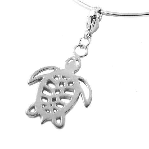 Sea Turtle Charm Necklace Rhodium Plated White Brass