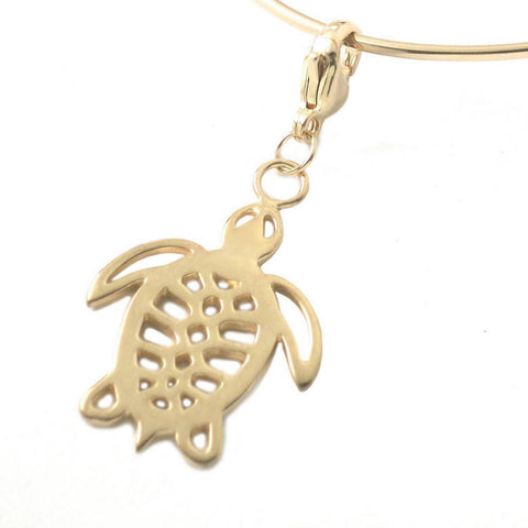18K Gold Plated Sterling Silver Sea Turtle Charm