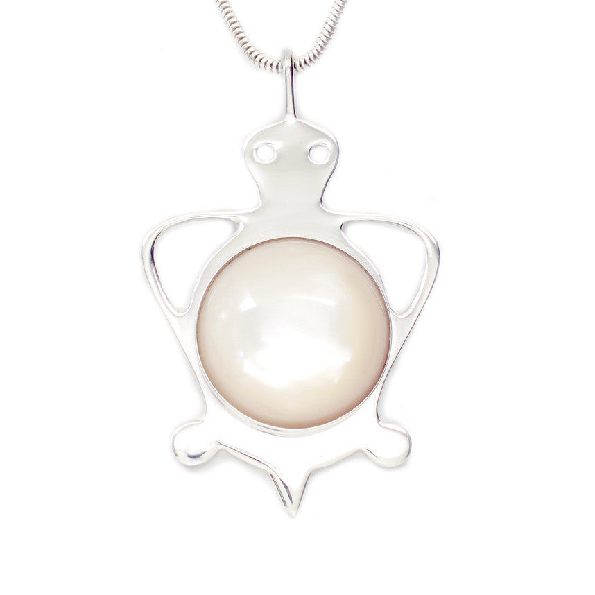 Sterling Silver Tortoise Mother of Pearl Necklace - Michele Benjamin - Jewelry Design