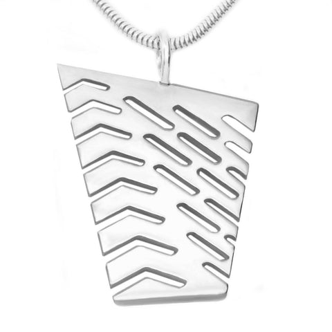 Sterling Silver Large Abstract I Pendant Necklace