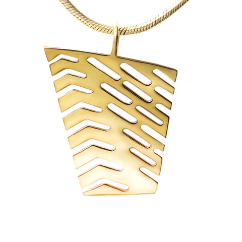 18K Gold Vermeil Large Abstract I Pendant Necklace 1 inch High