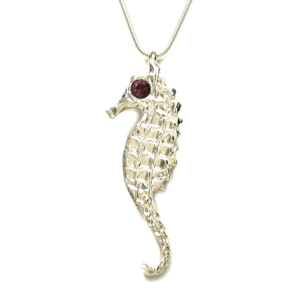 Sterling Silver Pink Sapphire Large Seahorse Pendant Necklace - Michele Benjamin - Jewelry Design