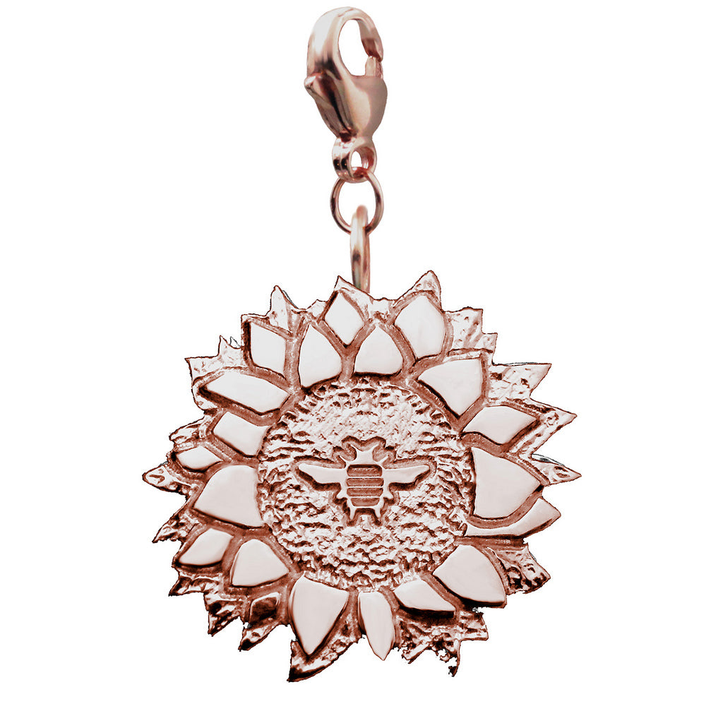 18K Rose Gold Vermeil Bee on a Sunflower Charm - Michele Benjamin - Jewelry Design