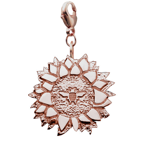 18K Rose Gold Vermeil Bee on a Sunflower Charm