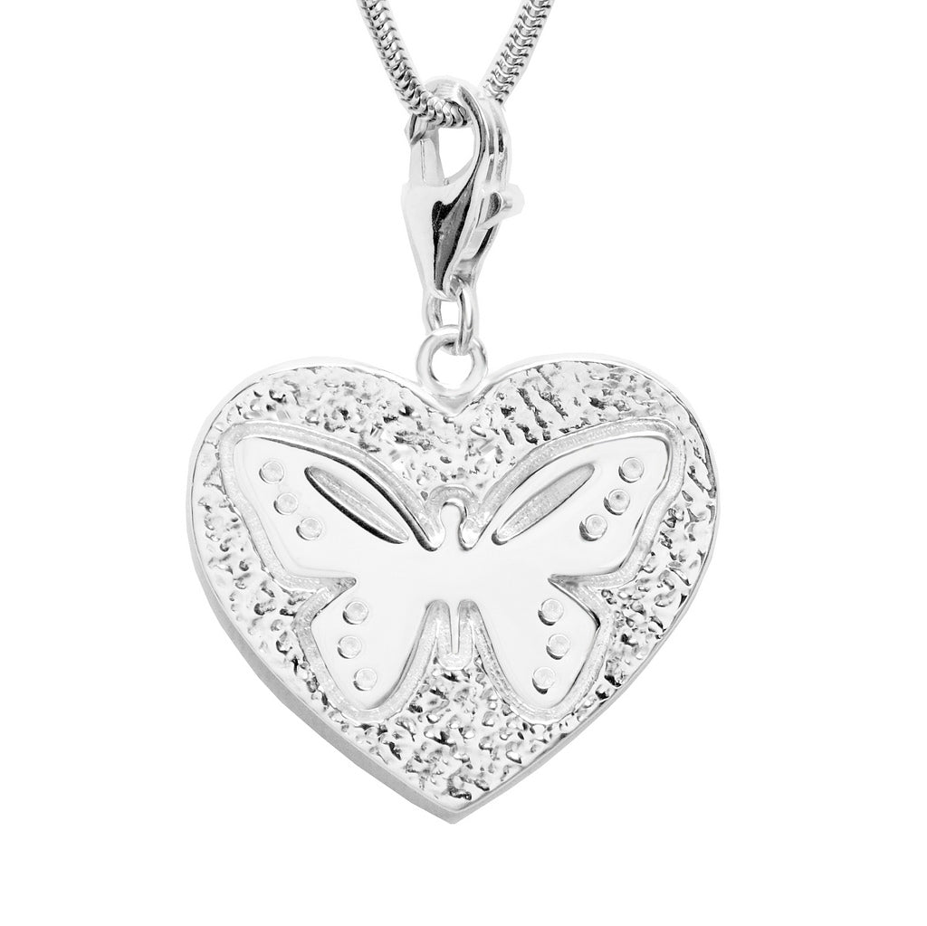 Sterling Silver Butterfly Heart Charm Necklace 18 in. L - Michele Benjamin - Jewelry Design