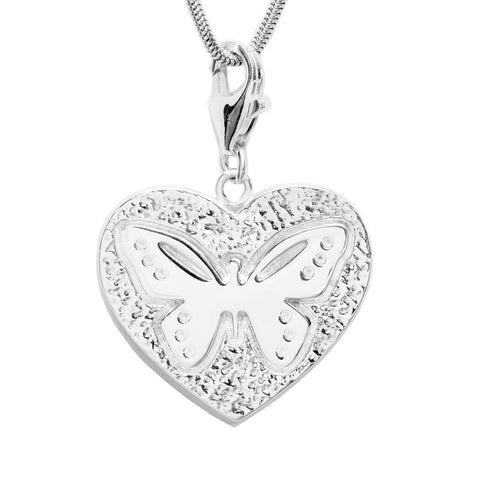 Sterling Silver Butterfly Heart Charm Necklace 18 in. L