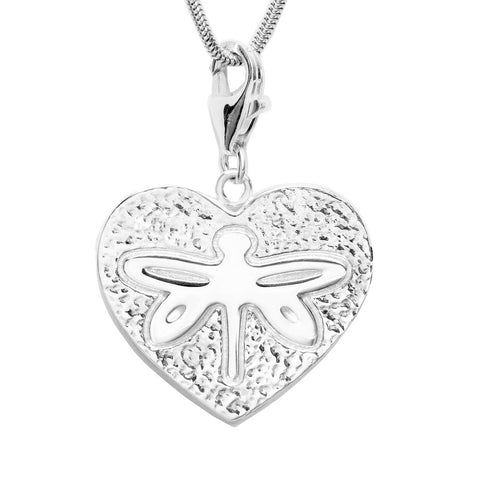 Sterling Silver Dragonfly Heart Charm Necklace 18 in. L