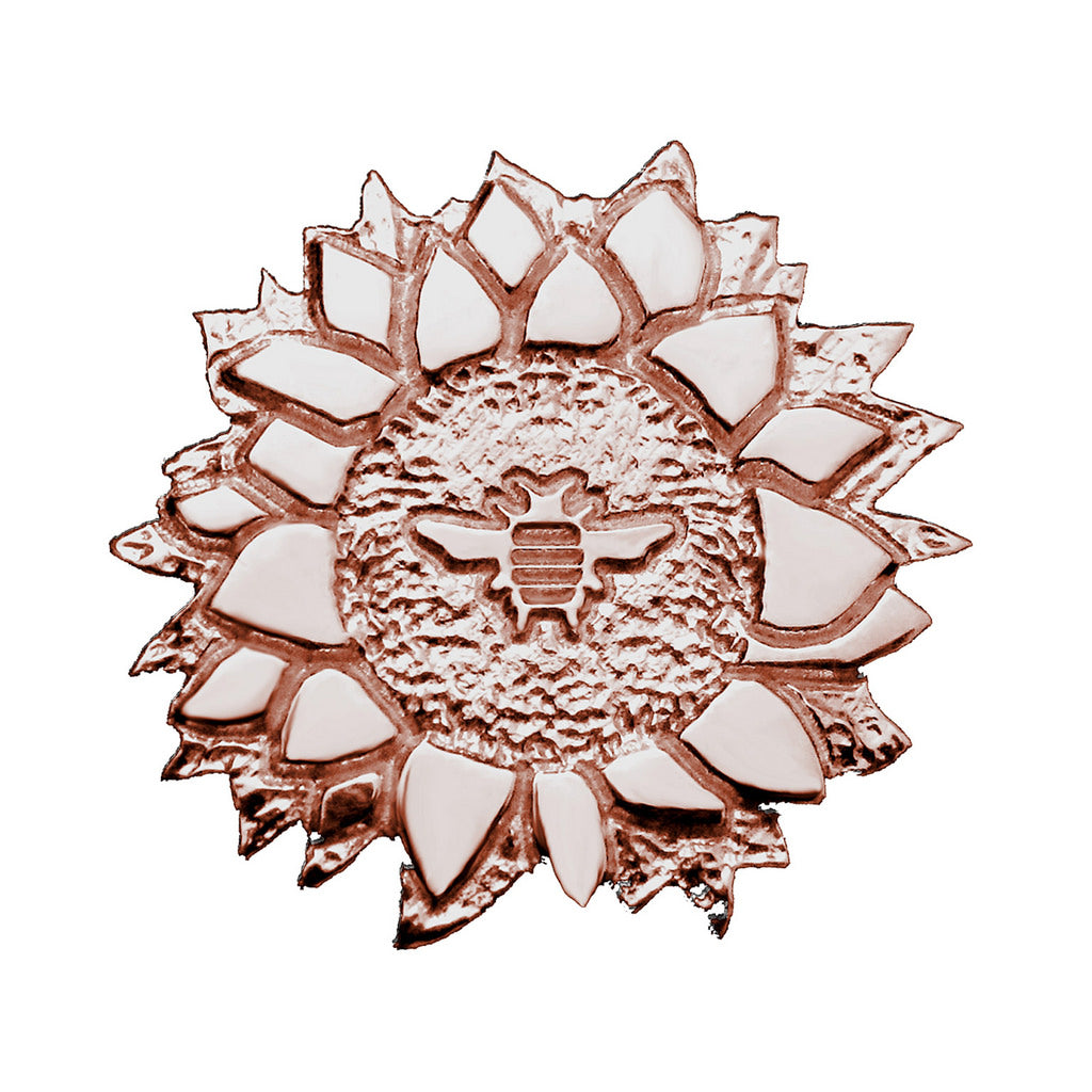 18K Rose Gold Plated Sterling Silver Sunflower with Bee Pin - Michele Benjamin - Jewelry Design