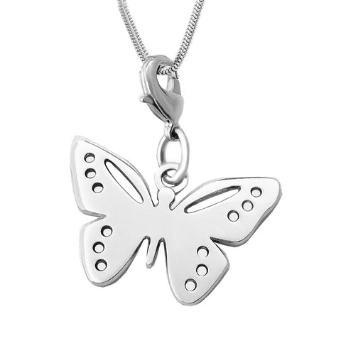 Sterling Silver Butterfly Charm Pendant Necklace 18 inch L