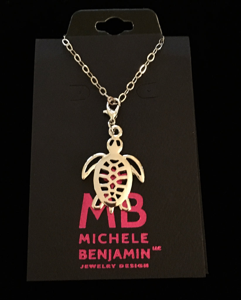 White Brass Sea Turtle Charm Necklace - Michele Benjamin - Jewelry Design