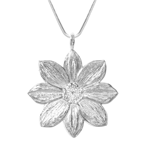 Sterling Silver Mystic Illusion Dahlia Statement Necklace