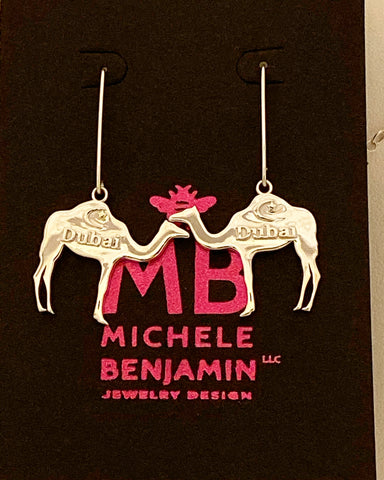 Dubai Camels with Crescent Star Dangle Earrings 1 1/2 inch L