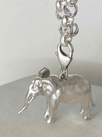 Sterling Silver Elephant Charm with Bracelet, One Size Fits All 6.5 - 7.5