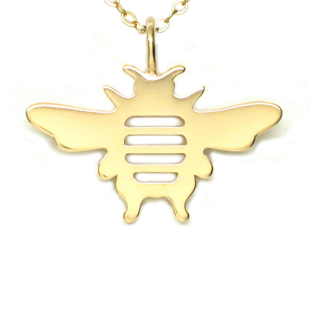 18K Gold Vermeil Bee Pendant Necklace 18 in L - Michele Benjamin - Jewelry Design