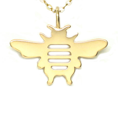 18K Gold Vermeil Bee Pendant Necklace 18 in L