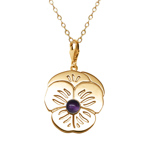 "18K Gold Plated Sterling Silver Amethyst  ""Purple Pansy"" Suffragette Charm Necklace"