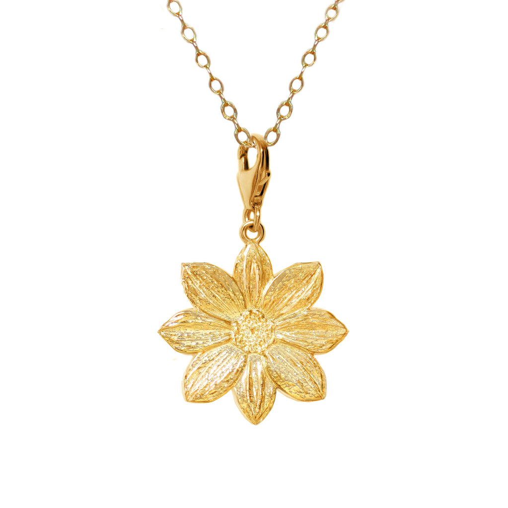 18K Gold Plated Sterling Silver Mystic Illusion Dahlia Charm Necklace - Michele Benjamin - Jewelry Design