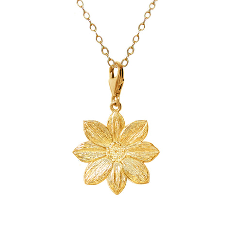 18K Gold Plated Sterling Silver Mystic Illusion Dahlia Charm Necklace