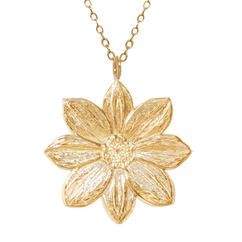 18K Gold Plated Sterling Silver Vermeil Mystic Illusion Dahlia Necklace