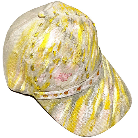 Original Hand Painted, Pink Bee Embroidered, Embellished- Khaki Baseball Cap - One Size Fits All