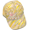 Original Hand Painted Khaki Baseball Cap, Pink Bee Embroidery, Crushed Velvet, One Size Fits All - Michele Benjamin - Jewelry Design