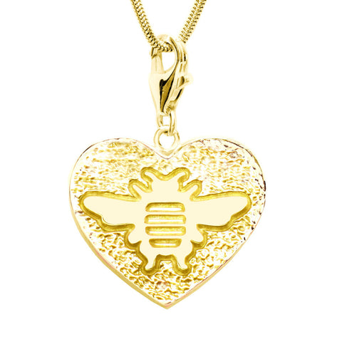 18K Gold Plated Sterling Bee Heart Charm Necklace 18 in. L