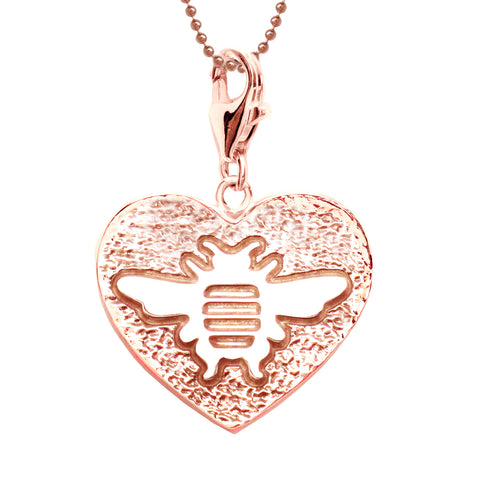 18K Rose Gold Plated Sterling Bee Heart Charm Necklace 18 in. L