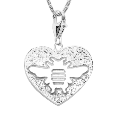 Sterling Silver Heart Charm with Bee Necklace 18 in. L