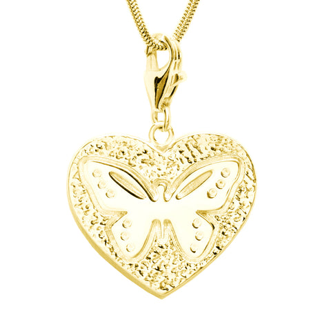 18K Gold Plated Sterling Silver Butterfly Heart Charm Necklace