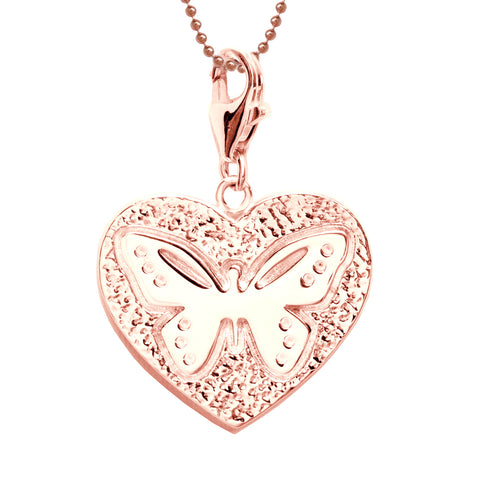18K Rose Gold Plated Sterling Butterfly Heart Charm Necklace 18 in. L