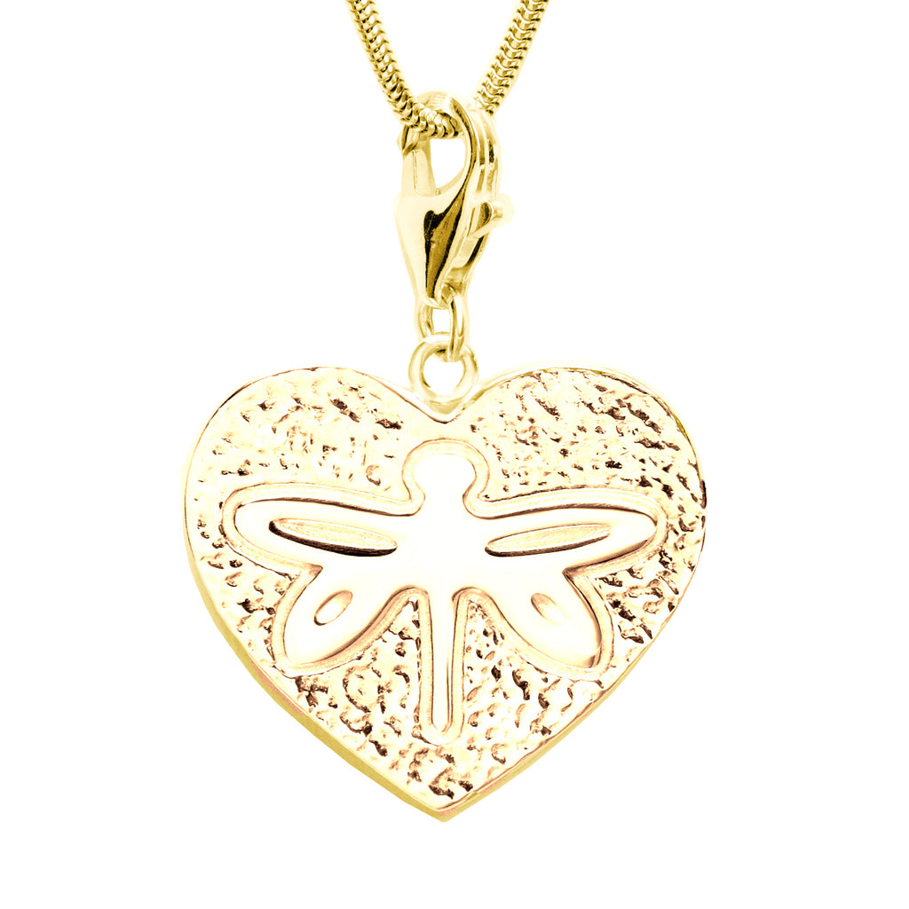 18K Gold Plated Sterling Silver Dragonfly Heart Charm Necklace 18 in. L - Michele Benjamin - Jewelry Design