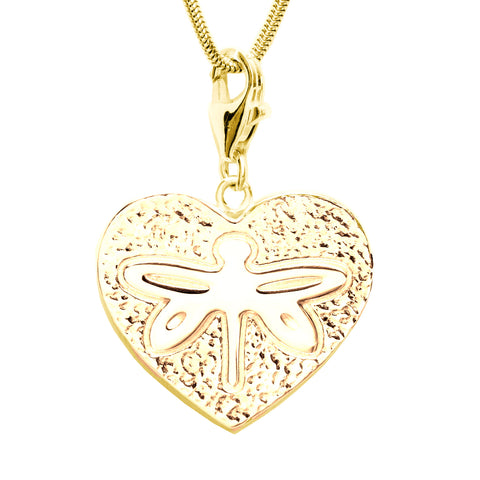 18K Gold Plated Sterling Silver Dragonfly Heart Charm Necklace 18 in. L
