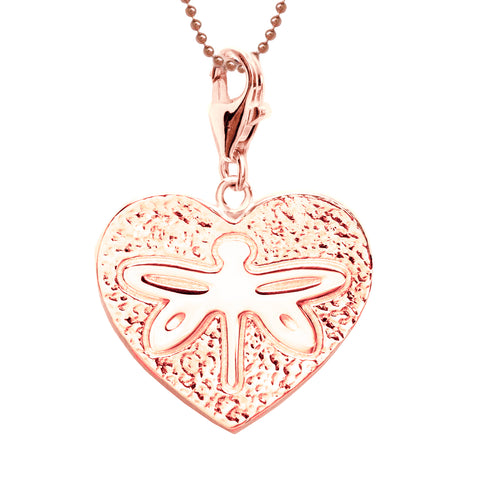 18K Rose Gold Plated Sterling Dragonfly Heart Necklace 18 in. L