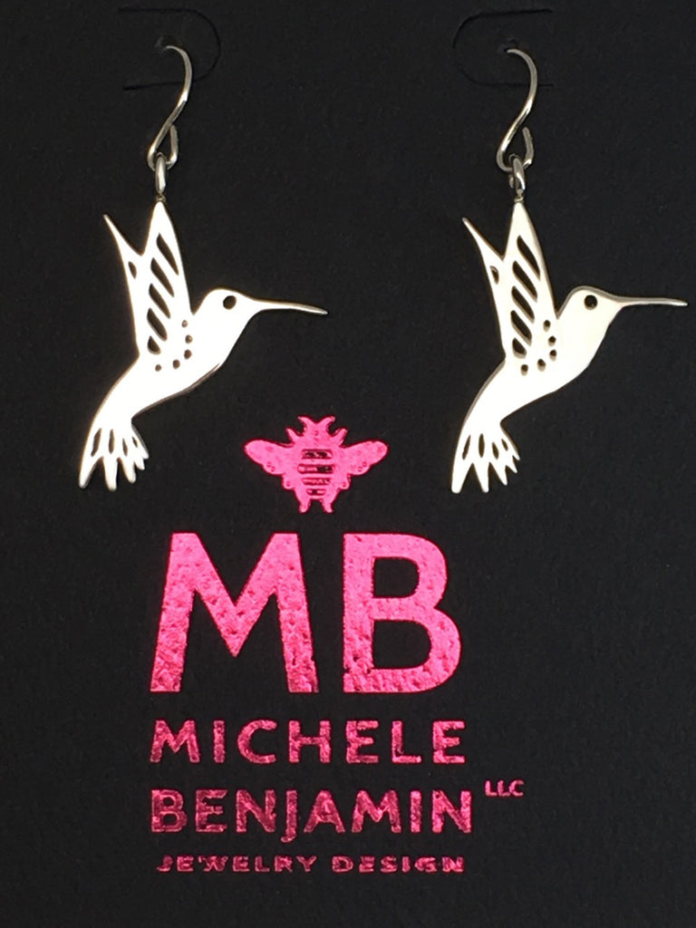 Sterling Silver Hummingbird Dangle Earrings 1.5 inch L - Michele Benjamin - Jewelry Design