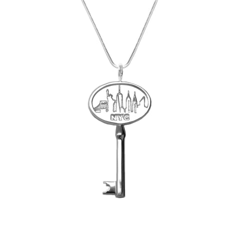 """Key to the City"" Necklace Rhodium Plated White Brass"