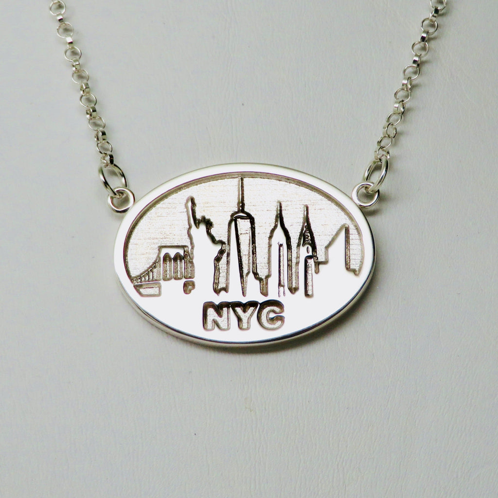 """NYC SKYLINE"" Souvenir Festoon Necklace Rhodium Plated Brass - Michele Benjamin - Jewelry Design"